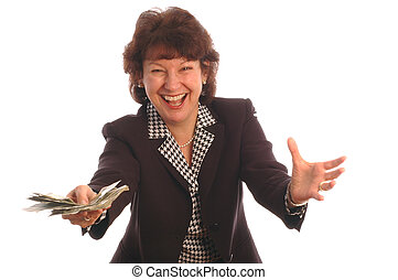 elated woman with cash 412 - elated woman with cash model...