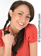 Woman Brunette Smile - Young woman smiling and twirling hair...