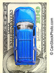 Car Loan - blue auto over banknote
