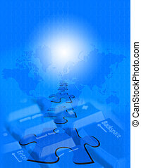 Blue WWW - Montage of images representing the digital globe