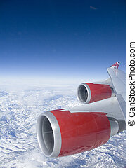 Red Engines - View from an aeroplane window of the red...