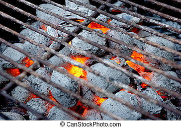 BBQ Grill - Glowing coals in a barbeque grill