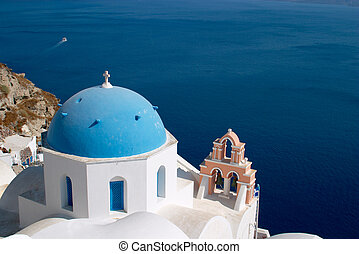 Church, Oia, Santorini - Church in Oia Santorini in front of...