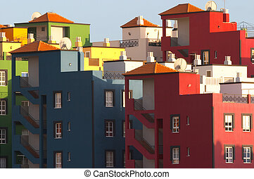 Multicolored buildings in Praya de las Americas Tenerife...