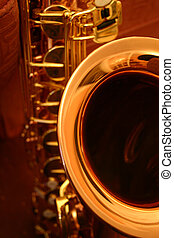 Saxophone bell - Detailed close up of saxophone bell with...