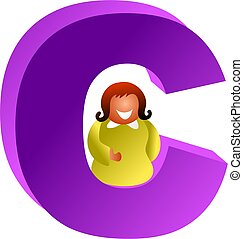 C is for - happy woman sitting inside of a letter C. Icon...