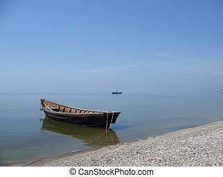 Lonely boat - Baikal sea (lake)
