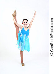 Dancer - Child with leg posed up high with white background.