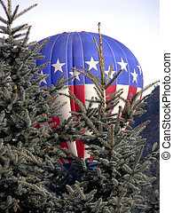 Patriotic Balloon - Red, white and blue hot air balloon...