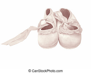 Girlie Shoes - Lovely pink satin baby shoes, for a girl.