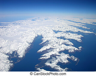North to Alaska - Aerial view of the Alaskan coastline,...