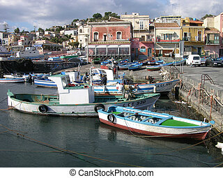 Working Boats - Boats, in the harbor, Aci Trezza, Sicily,...