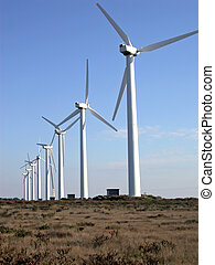 Windmills - Line of windmills on a hill in southern...