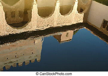 Alhambra Pool - A pool reflecting arches in the Alhambra...