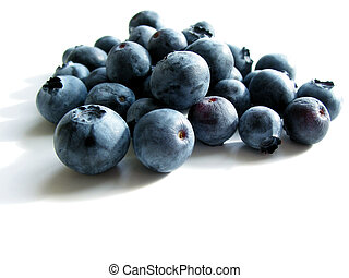 Blueberries on white - Closeup on fresh blueberries isolated...