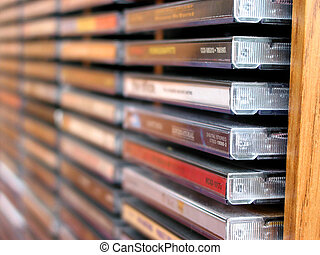 Music cd stack - Rows of music cds in a cd holder, shallow...
