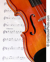 Violin and music - Violinfiddle on sheet music