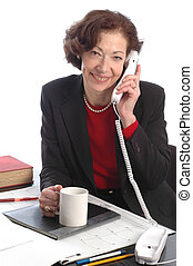 smiling business woman 700 - smiling business woman at desk...