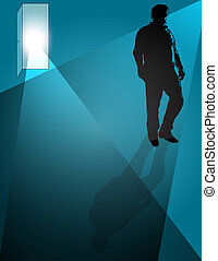 Turned Away - Man walking away from open door,conceptual for...
