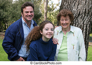 Three Generations - A father, daughter and grandmother at...