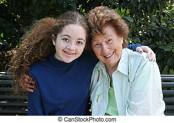 Grandma & Granddaughter - A happy grandmother and...