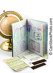 Visa stamps - American passport with visa stamps