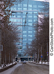 Ukos office center in Samara in Russia in winter time
