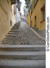 Climbing the city stairs in Italy
