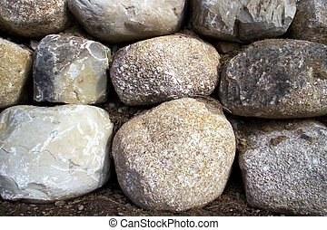 rock wall - rock retainer wall stones