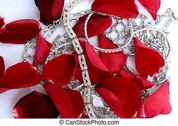 jewellery - red rose pedals with jewellery