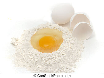baking ingredients - eggs and flour for baking
