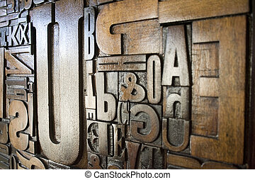 Up To You - A set of wooden letterpress type characters with...