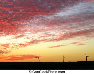 Wind Generators at Sunset - -- these are located on the...