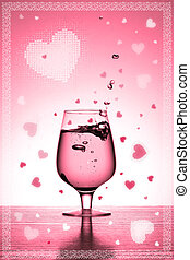 valentine\\\'s card with glass and hearts