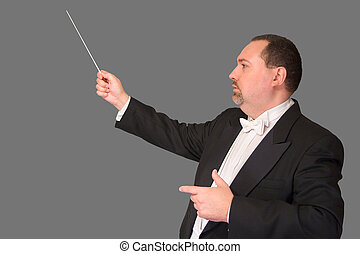 Isolated Conductor: Profile - Profile shot of a conductor...