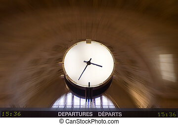 Time is Money - Clock in Torontos Union Station, with radial...