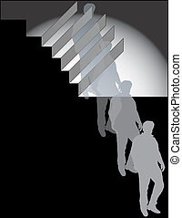 Declining Man - Man at the bottom of stairs, conceptual for...