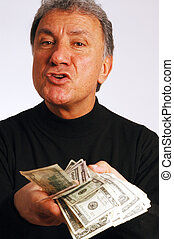 hands with cash - expressive man with cash model released