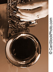 Playing the Blues - High Contract black and white saxophone...