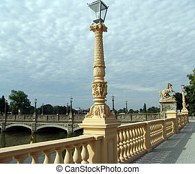 Schwerin Bridge II - Richly decorated old bridge lamppost...