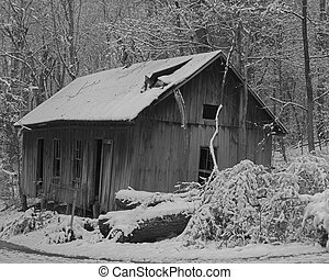 abandoned store - Old country store abandoned, fresh snow...