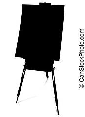 Silhouette Easel - Silhouette over white with clipping path....