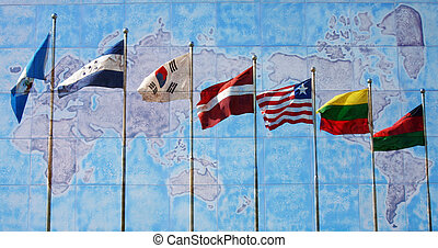 Flags of the World - Flags of the world with a map in the...