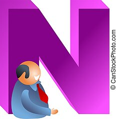 N is for - businessman and the letter N