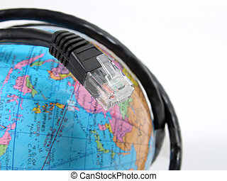 Global communication - An INTERNET cable surrounding a earth...