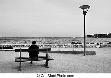benchman #02 - Man on Bench, next to the sea - High Key,...