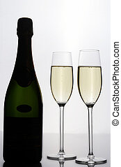 Rendez-Vous - Bottle of champagne with 2 glasses -...