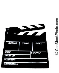 Movie Clapboard - , a movie clapboard over white, blank...