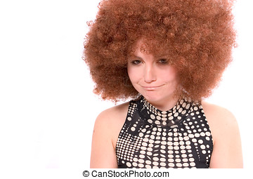 Pouting - Pretty woman with red afro wig pulling a pouting...