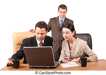 three people meeting - Group of 3 business people working...